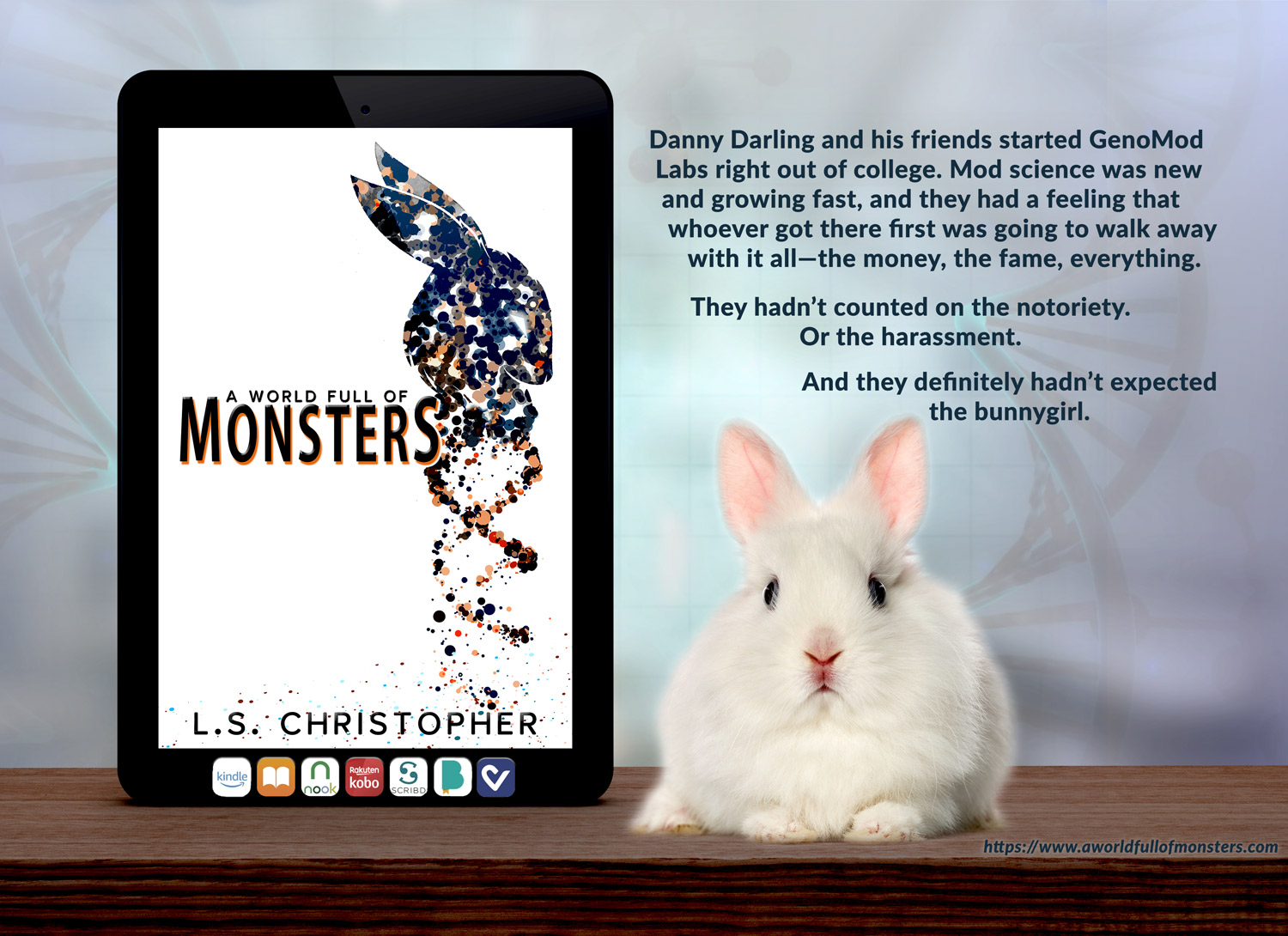 A World Full of Monsters book promo image - with adorable bunny!